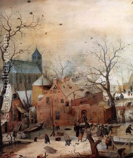 Winter Landscape with Skaters (detail) 2 by Hendrick Avercamp - Reproduction Oil Painting
