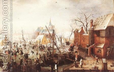 Winter Scene at Yselmuiden 2 by Hendrick Avercamp - Reproduction Oil Painting