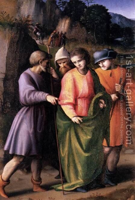 Scenes from the Story of Joseph Joseph Sold by His Brethren by (circle of) Ubertini, (Bacchiacca) - Reproduction Oil Painting