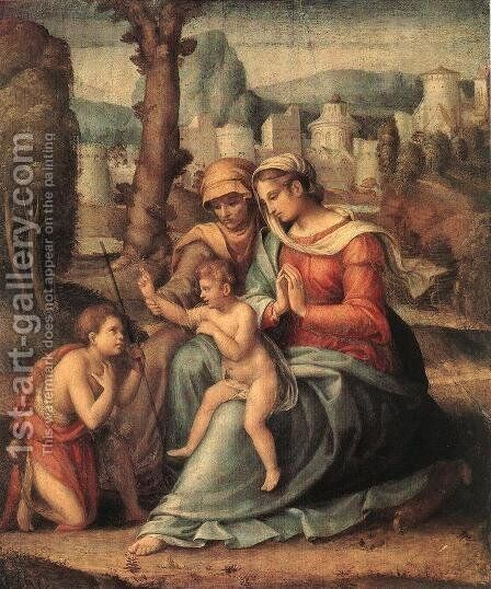 Madonna with Child, St Elisabeth and the Infant St John the Baptist by (circle of) Ubertini, (Bacchiacca) - Reproduction Oil Painting