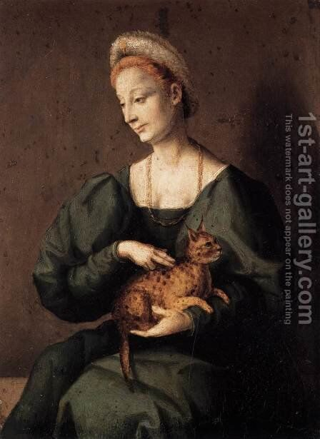 Woman with a Cat by (circle of) Ubertini, (Bacchiacca) - Reproduction Oil Painting