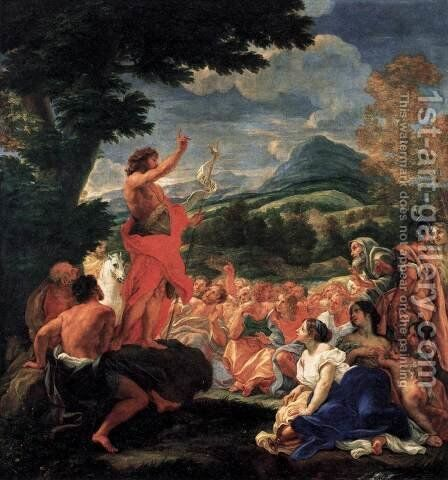 The Preaching of St John the Baptist by Baciccio II - Reproduction Oil Painting