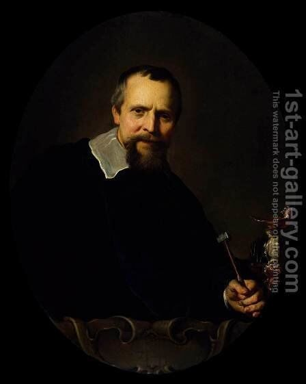 Portrait of Johannes Lutma by Jacob Adriaensz Backer - Reproduction Oil Painting