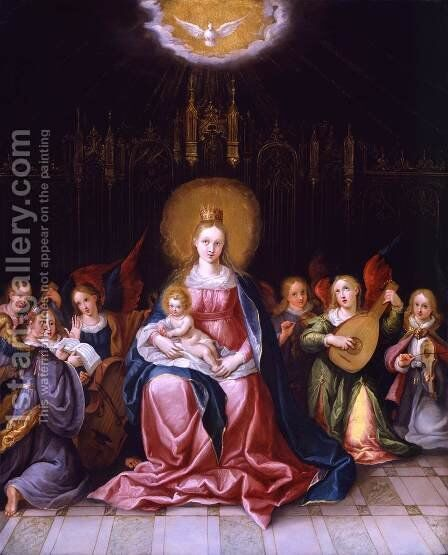 Virgin and Child Enthroned by Cornelis de Baellieur - Reproduction Oil Painting