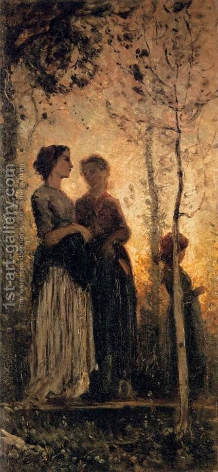 Three Peasant Women by Cristiano Banti - Reproduction Oil Painting