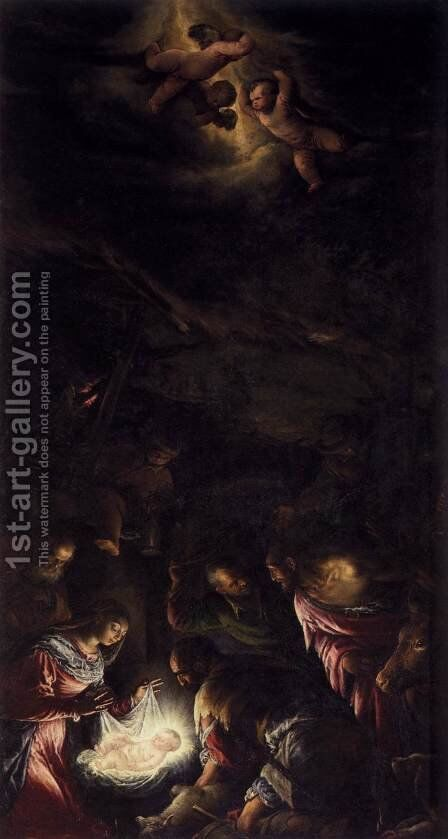 Adoration of the Shepherds by Jacopo Bassano (Jacopo da Ponte) - Reproduction Oil Painting