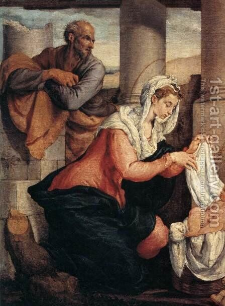 Adoration of the Shepherds (detail) by Jacopo Bassano (Jacopo da Ponte) - Reproduction Oil Painting