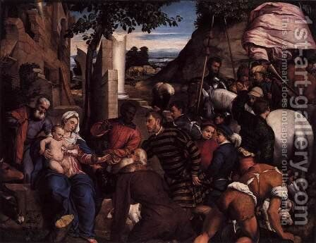Adoration of the Kings 2 by Jacopo Bassano (Jacopo da Ponte) - Reproduction Oil Painting