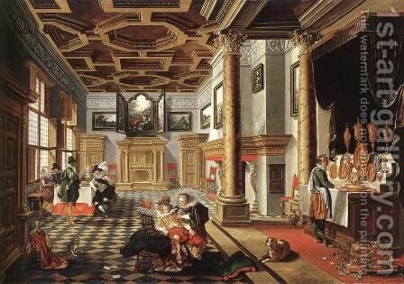 Renaissance Interior with Banqueters 2 by Bartholomeus Van Bassen - Reproduction Oil Painting