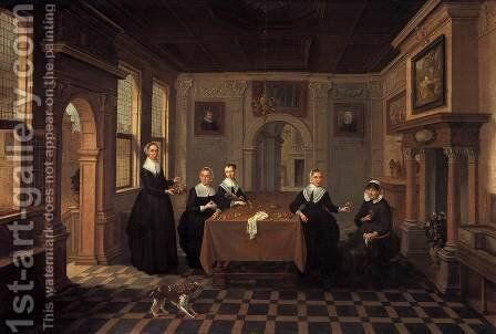 A Company in an Interior by Bartholomeus Van Bassen - Reproduction Oil Painting