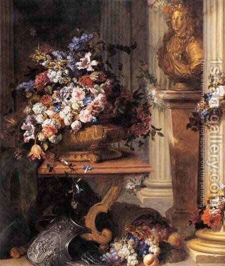 Flowers in a Gold Vase, Bust of Louis XIV, Horn of Plenty and Armour by Jean Baptiste Belin de Fontenay - Reproduction Oil Painting