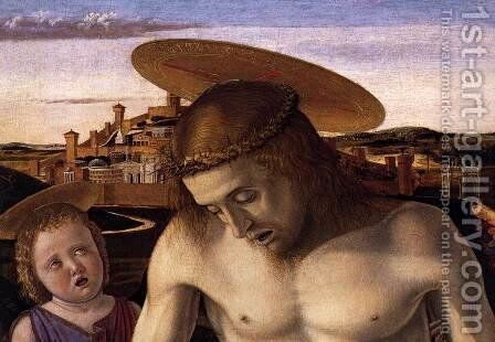 Dead Christ Supported by Two Angels (detail) by Giovanni Bellini - Reproduction Oil Painting