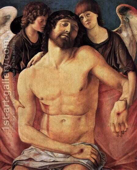 Dead Christ Supported by Two Angels by Giovanni Bellini - Reproduction Oil Painting