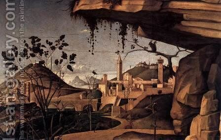 St Jerome Reading in the Countryside (detail) by Giovanni Bellini - Reproduction Oil Painting