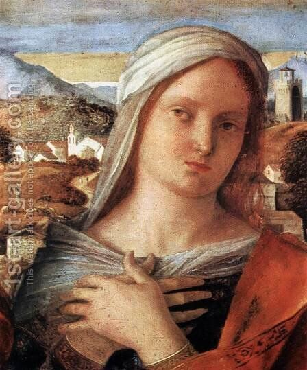 Madonna and Child with St John the Baptist and a Saint (detail) 2 by Giovanni Bellini - Reproduction Oil Painting