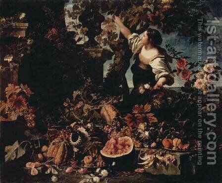 Flowers and Fruit by Christian Berentz - Reproduction Oil Painting
