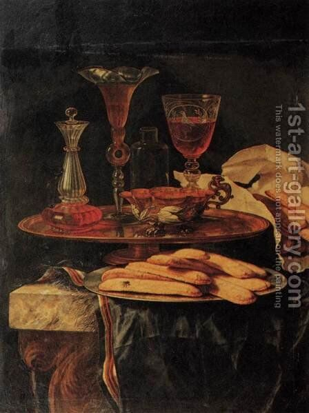 Still-Life with Crystal Glasses and Sponge-Cakes by Christian Berentz - Reproduction Oil Painting