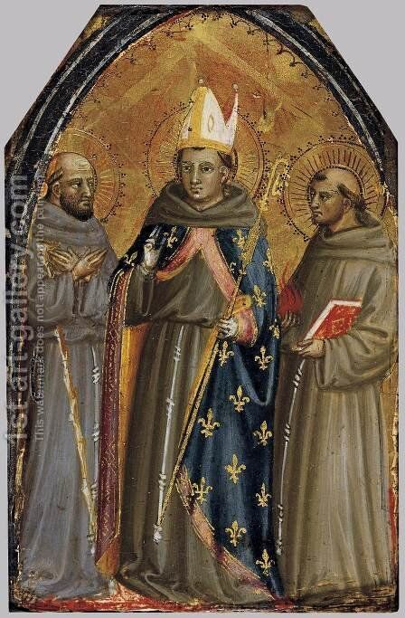 Sts Francis of Assisi, Louis of Toulouse and Anthony of Padua by Bicci Di Lorenzo - Reproduction Oil Painting