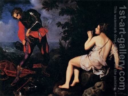 Angelica Hides from Ruggiero by Giovanni Bilivert - Reproduction Oil Painting
