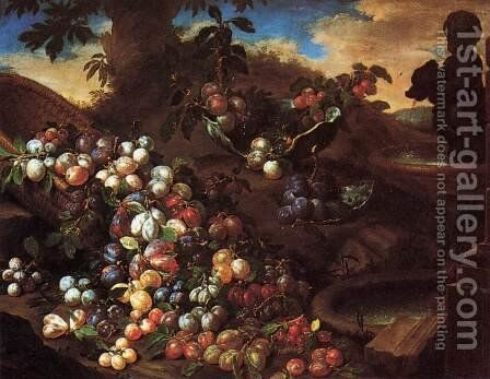 Plums by Bartolommeo Bimbi - Reproduction Oil Painting