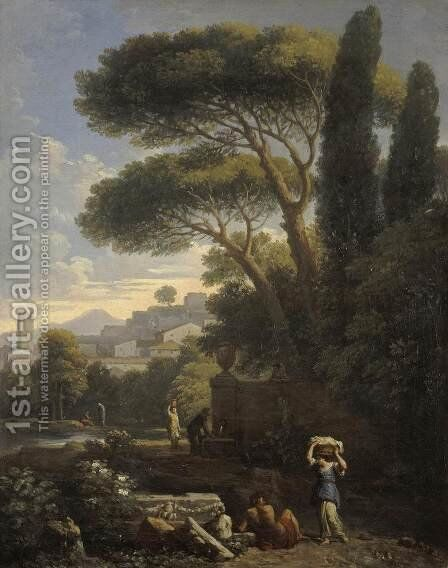 Landscape with a Fountain by Jan Frans van Orizzonte (see Bloemen) - Reproduction Oil Painting
