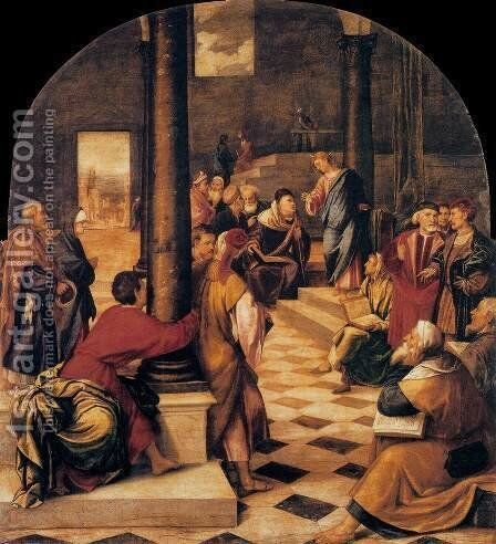 Christ among the Doctors by Bonifacio Veronese (Pitati) - Reproduction Oil Painting