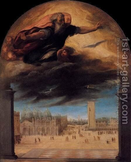 God the Father over the Piazza San Marco by Bonifacio Veronese (Pitati) - Reproduction Oil Painting