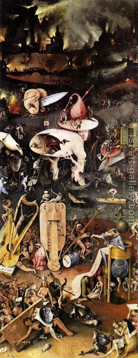 Triptych of Garden of Earthly Delights (right wing) by Hieronymous Bosch - Reproduction Oil Painting