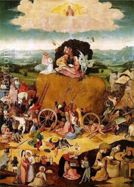 Triptych of Haywain (central panel) 2 by Hieronymous Bosch - Reproduction Oil Painting