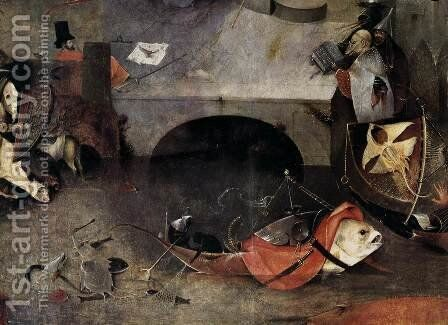 Triptych of Temptation of St Anthony (detail) 8 by Hieronymous Bosch - Reproduction Oil Painting