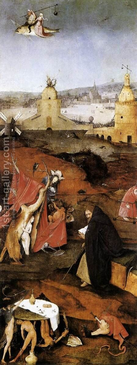 Triptych of Temptation of St Anthony (right wing) 2 by Hieronymous Bosch - Reproduction Oil Painting