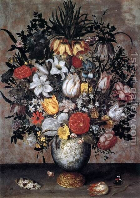 Flowers in a Chinese Vase by Ambrosius the Elder Bosschaert - Reproduction Oil Painting
