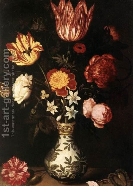 Still-Life with Flowers in a Wan-Li vase by Ambrosius the Elder Bosschaert - Reproduction Oil Painting
