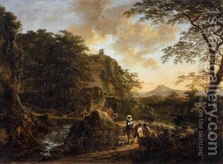 Landscape with a Peasant Woman on a Mule by Jan Both - Reproduction Oil Painting