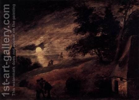 Dune Landscape by Moonlight by Adriaen Brouwer - Reproduction Oil Painting