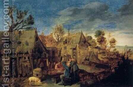 Village Scene with Men Drinking by Adriaen Brouwer - Reproduction Oil Painting
