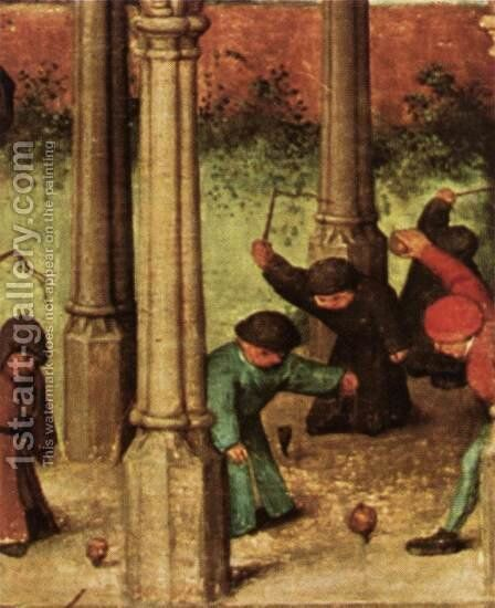 Children's Games (detail) 4 by Pieter the Elder Bruegel - Reproduction Oil Painting