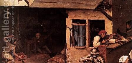 Netherlandish Proverbs (detail) 3 by Pieter the Elder Bruegel - Reproduction Oil Painting