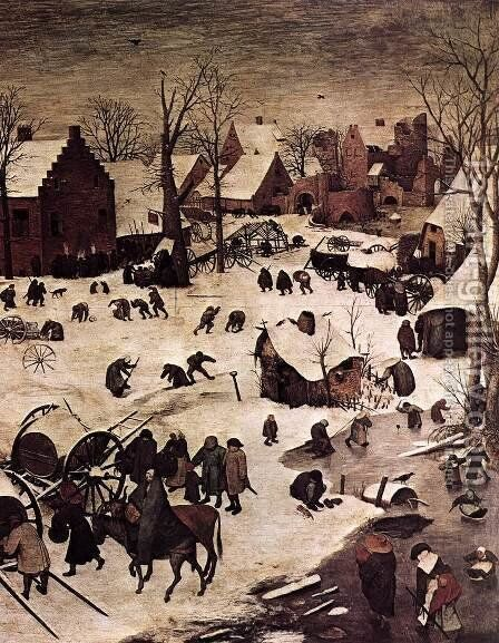 The Census at Bethlehem (detail) by Pieter the Elder Bruegel - Reproduction Oil Painting