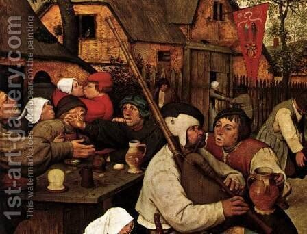 The Peasant Dance (detail) by Pieter the Elder Bruegel - Reproduction Oil Painting
