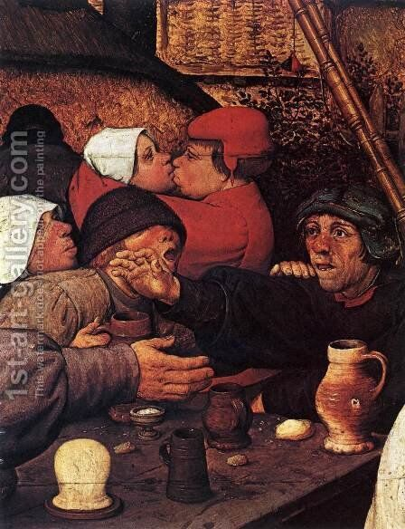The Peasant Dance (detail) 2 by Pieter the Elder Bruegel - Reproduction Oil Painting