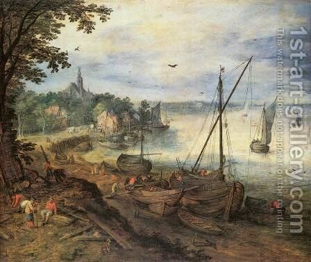 River Landscape with Lumbermen by Jan The Elder Brueghel - Reproduction Oil Painting