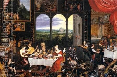 The Senses of Hearing, Touch and Taste by Jan The Elder Brueghel - Reproduction Oil Painting