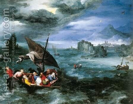 Christ in the Storm on the Sea of Galilee by Jan The Elder Brueghel - Reproduction Oil Painting
