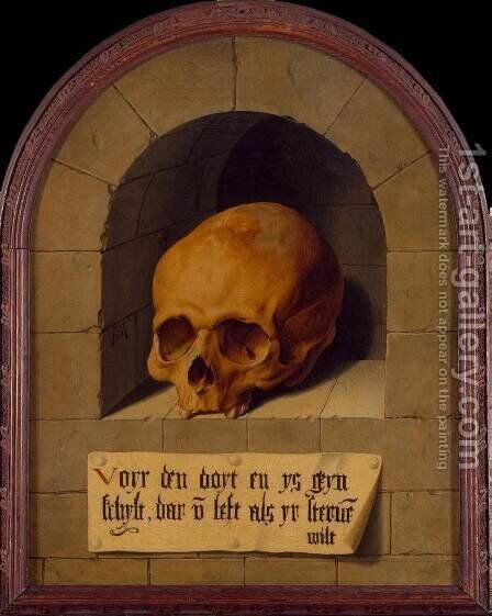 Skull in a Niche by Barthel Bruyn - Reproduction Oil Painting