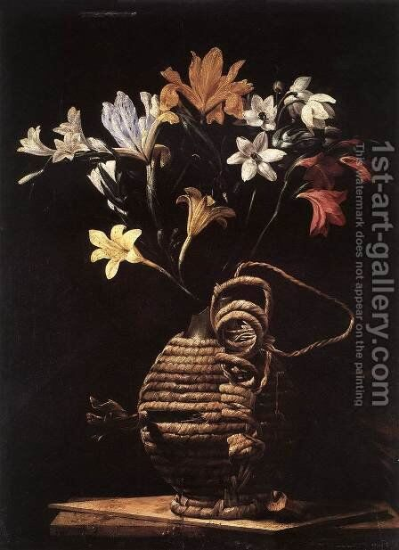 Flowers in a Flask by Guido Cagnacci - Reproduction Oil Painting