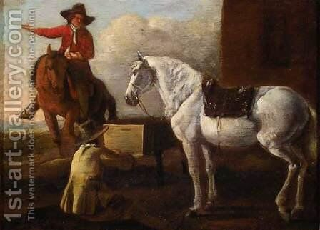 Young Artist Painting a Horse and Rider by Abraham Van Calraet - Reproduction Oil Painting
