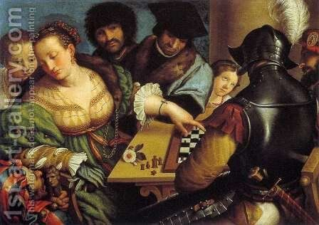 The Chess Players by Giulio Campi - Reproduction Oil Painting