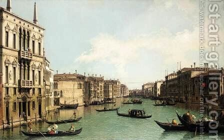 Venice The Grand Canal, Looking North-East from Palazzo Balbi to the Rialto Bri by (Giovanni Antonio Canal) Canaletto - Reproduction Oil Painting