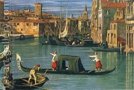 The Grand Canal and the Church of the Salute (detail) 2 by (Giovanni Antonio Canal) Canaletto - Reproduction Oil Painting